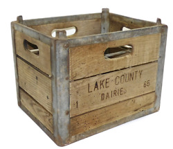 Antique Lake County Dairies Stacking Wood And Metal Milk Crate Bottle Dairy Box