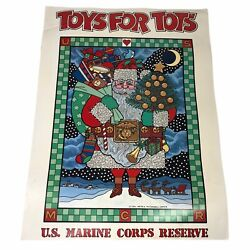 """Vintage Toys For Tots Poster Us Marine Corps Reserve Santa 17""""x13"""""""