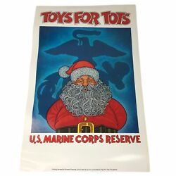 """Vintage Toys For Tots Poster Us Marine Corps Reserve Santa 13""""x17"""""""