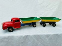 Tin Toy Truck Gama, Gesha, Göso Truck Lkw With Trailer Wind-up Rare