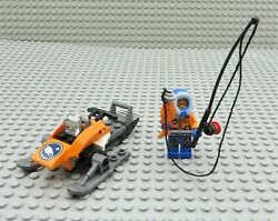 Lego Arctic Fisherman Minifigure With Snowmobile Fish And Pole