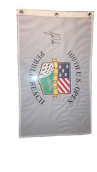 Tiger Woods Signed Flag 2000 Us Open Pebble Beach