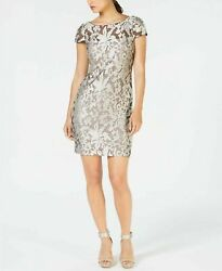 New $159 Calvin Klein Sheer Embroidered Short Evening Silver Dress Size 12 $89.99