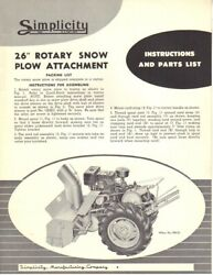 """Simplicity 26"""" Rotary Snow Plow Attachment Operator Instruction Maint Manual"""