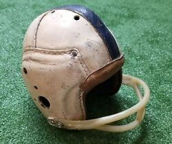 Vintage 1930's Antique Leather Pigskin Football Helmet White And Blue W/ Face Mask