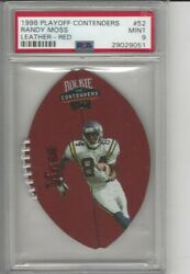 1998 Playoff Contenders Leather - Red Randy Moss 52 Psa 9 Minnesota Vikings