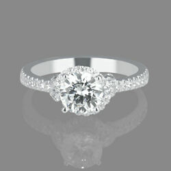 Jewelry 18k White Gold Round Cut Natural Diamond Engagement Ring 1.05 Ct F/si1