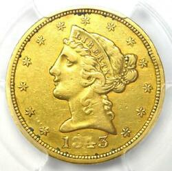 1843-d Liberty Gold Half Eagle 5 - Certified Pcgs Xf Details - Dahlonega Coin