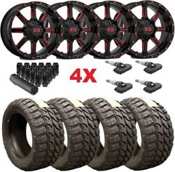 22x10 Gloss Black Candy Red Wheels Rims 33 12.50 22 Tires Package Mt Mud Xd Fuel