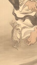 Hanging Scroll Japanese Painting Japa Toad Hermit Frog Antique Old Art D953
