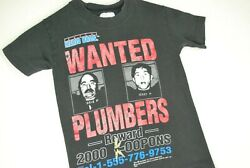 Vintage 90s Super Mario Bros Video Game T Shirt Wanted Plumbers Black Youth Boys