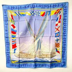 Hermes Carres 90 Scarf En Course Silk Blue Navy Multi Colored Yacht Second _3780