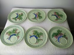 6 Vintage Western Germany Green Grape Leaf Lunch Snack Plates With Cup Holder