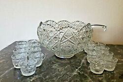 Vintage Le Smith Daisy And Button Pressed Glass 12 Punch Bowl 18 Cups Heavy Retro