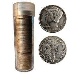[lot Of 50] Mercury Dimes Includes Tube 1916-1945 90 Silver