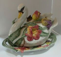 Fitz And Floyd Figurine Beautiful Tulip Floral Swan Soup Tureen And Ladle Andplatter