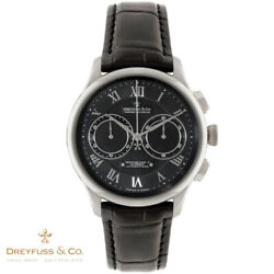 Dreyfuss And Co. Dgs00094/10 Automatic 1925 Silver Black Leather Menand039s Watch New