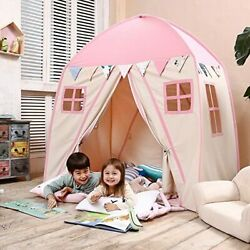 Play Tent Children Fort Canvas Canopy Indoor/outdoor Carry Bag Pink For Girls