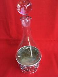 Vintage De Uberti Glass Decanter Stopper And Repousse Silverplate Wine Holder