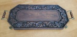 Vintage Hand Carved Wood Floral Serving Tray W/brass Handles And Claw Feet