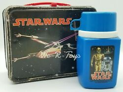 Star Wars 1977 Metal Lunchbox And Thermal Cup Thermos Division 20th Century Fox