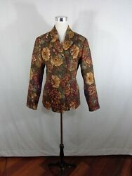 Coldwater Creek Tapestry Jacket Floral Roses Women#x27;s Button Front Size M