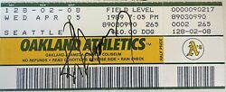 Ken Griffey Jr Signed Full Ticket From 2nd Mlb Game