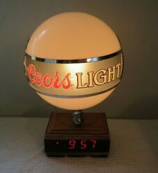 Vintage Adolph Coors 10 Lighted Globe And Led Clock Beer Sign Rare 1980's Works