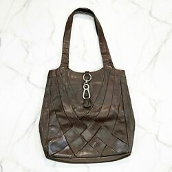 Velez Leather Bags Brown Woven Toggle Snap Shoulder Purse Hobo Large $49.99