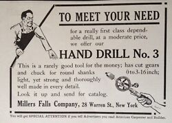1913 Adf7millers Falls Co. Ny. Hand Drill No.3