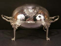 Antique Covered Dome Roll Top Caviar Butter Dish Server Stand Cheese Tureen Tray