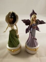 1 Barbie Calla Lilly Flower And 1 Barbie Purple Orchid Flower Trinket Box