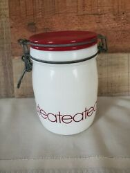 Vintage Wheaton 3/4 L Milk Glass Tea Bale Wire Clamp Jar Canister With Red Lid