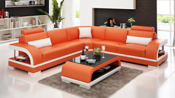 Living Room Leather Xxl Couch Sofa Modern Designer Eckpolster Pads 2tl Table