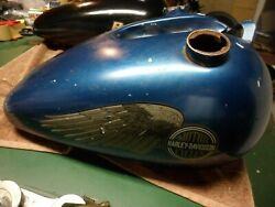 Vintage Harley Davidson Motorcycle Gas Fuel Tank 1 Piece Wing Decals 2 Spouts