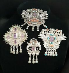 Gorgeous Collection Of Vintageornate Mexican Jeweled Sterling Silver Brooches.