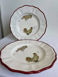 """Sur La Table Jacques Pepin Chickens Collection Salad Plates 8.5"""" Set Of Two 2x"""