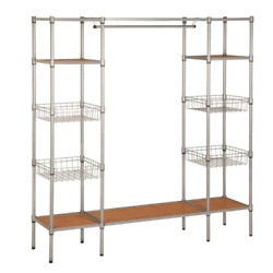 Chrome Steel Freestanding Clothes Rack With Garment Bar And Shelves 67.52 In. W