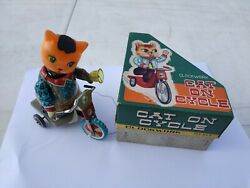 Red China Tin Toy Wind Up Cat Tricycle Shanghai Mf Ms Vintage Mechanical