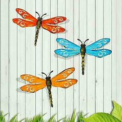 Scwhousi Metal Dragonfly Wall Decor Outdoor Garden Fence Arthanging