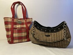 Longaberger Checked Black Tan Purse And Red Plaid Small Tote