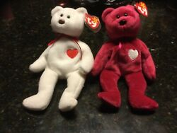 Rare Vintage Beanie Babies Valentino And Valentina Couple, Mint Condition
