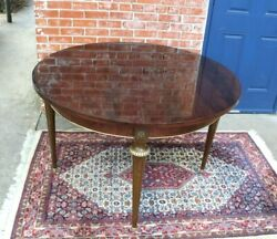 French Antique Round Louis Xvi Extended Mahogany Dining Table