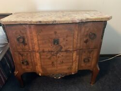 French Louis Xv Antique Styled Marble Top Dresser Console Chest