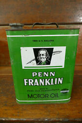 Vintage 1940s Penn Franklin Motor Oil Pennant Oil And Grease Co Two Gallon Oil Can