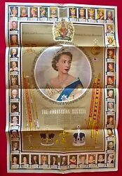 Queen Elizabeth 11 1953 National Savings Coronation Poster 20 X 19.5 Inches