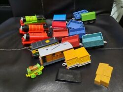 Thomas The Tank Engine Train Trackmaster Lot Of 5 Trains 10 Trailers Used