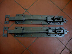 Antique Matched Pair Of Sprung Flip Action Locking Door Bolts