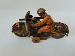 Vintage Rare Old Collectible Antique Tin Toy Military Bike Made In Japan