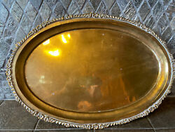Vintage Style Brass Tray Floral Edge 17.5andrdquo X 12andrdquo-4905